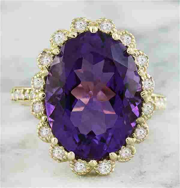 8.00 CTW Amethyst 14K Yellow Gold Diamond Ring