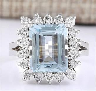 5.08 CTW Natural Aquamarine And Diamond Ring In 18K