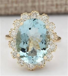 8.17 CTW Natural Blue Aquamarine And Diamond Ring In