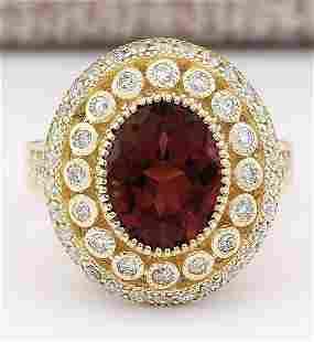 3.70 CTW Natural Pink Tourmaline And Diamond Ring 14k