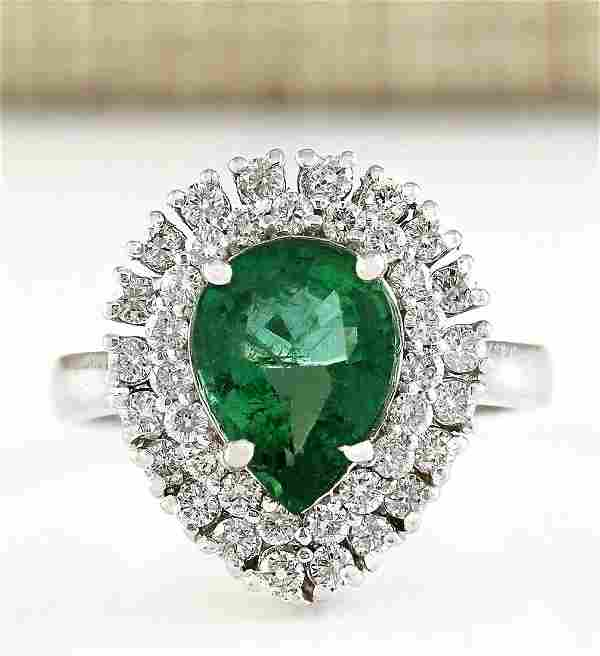 2.65 CTW Natural Emerald And Diamond Ring In 18K White