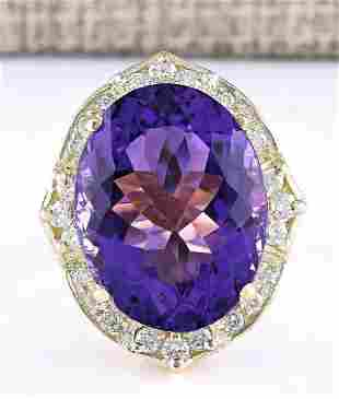 19.00 CTW Natural Amethyst And Diamond Ring In 14k