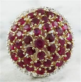 6.20 CTW Ruby 18K Two Tone Gold Diamond Ring