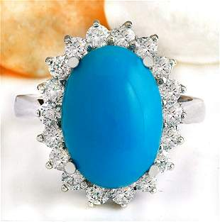5.29 CTW Natural Turquoise 18K Solid White Gold Diamond