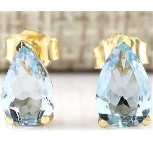 2.00 CTW Natural Aquamarine Earrings 18K Solid Yellow