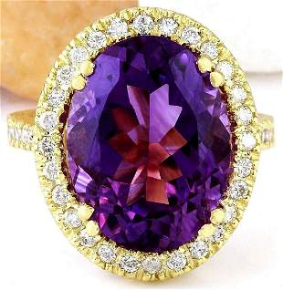 9.10 CTW Natural Amethyst 18K Solid Yellow Gold Diamond