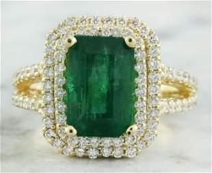 4.42 CTW Emerald 18K Yellow Gold Diamond Ring