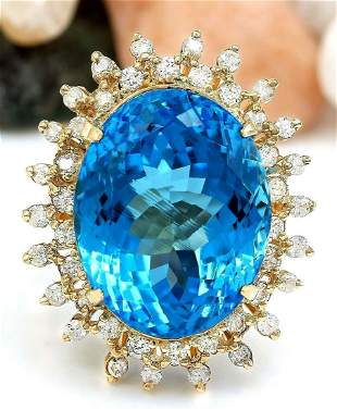 32.00 CTW Natural Topaz 14K Solid Yellow Gold Diamond