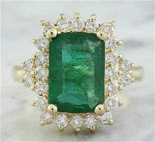 3.72 CTW Emerald 18K Yellow Gold Diamond Ring