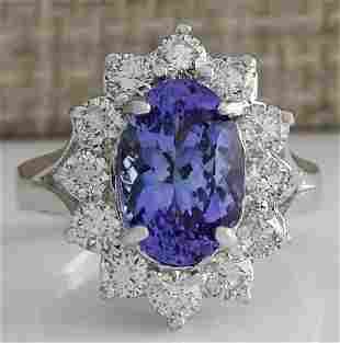 4.55 CTW Natural Blue Tanzanite And Diamond Ring 14K