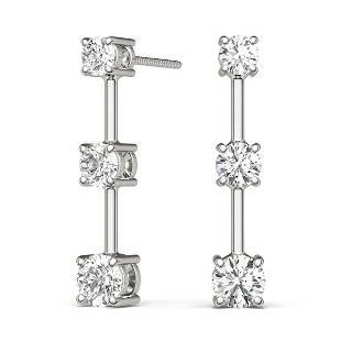 1.50 Carat Diamond Engagement 14K White Gold 3-stone
