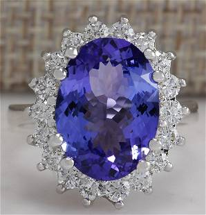6.80 CTW Natural Blue Tanzanite And Diamond Ring 14K