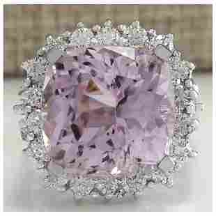 18.62 CTW Natural Kunzite And Diamond Ring 18K Solid