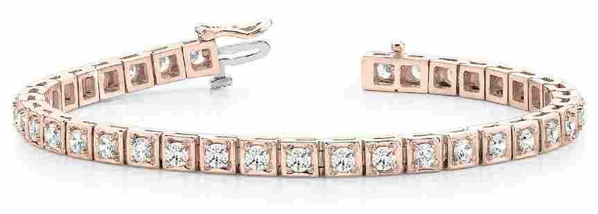 1.04 Carat Diamond Engagement 14K Rose Gold Bracelet