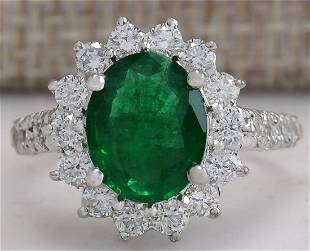 3.08 CTW Natural Emerald And Diamond Ring 18K Solid