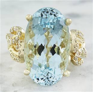 14.25 CTW Aquamarine 18K Yellow Gold Diamond Ring