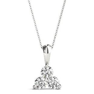 0.99 Carat Diamond Engagement 14K White Gold 3-Stone