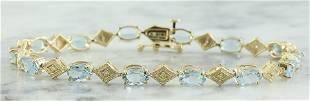 8.50 CTW Aquamarine 18K Yellow Gold Diamond Bracelet