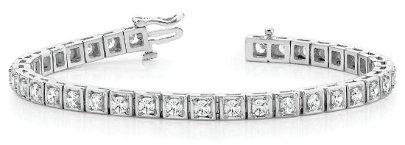 3.7 Carat Diamond Engagement 14K White Gold Bracelet