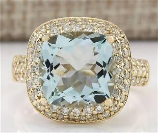 5.36 CTW Natural Aquamarine And Diamond Ring 18K Solid