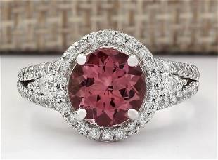 2.79 CTW Natural Pink Tourmaline And Diamond Ring 18K