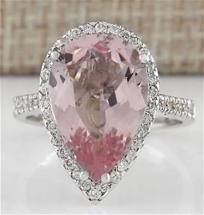 6.82 CTW Natural Morganite And Diamond Ring In 18K