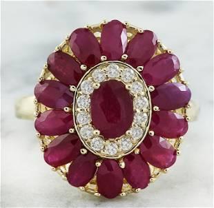 4.40 CTW Ruby 18K Yellow Gold Diamond Ring