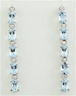 4.53 CTW Aquamarine 18K White Gold Diamond Earrings