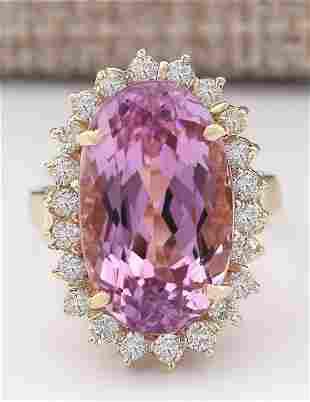 14.14 CTW Natural Kunzite And Diamond Ring In 18K
