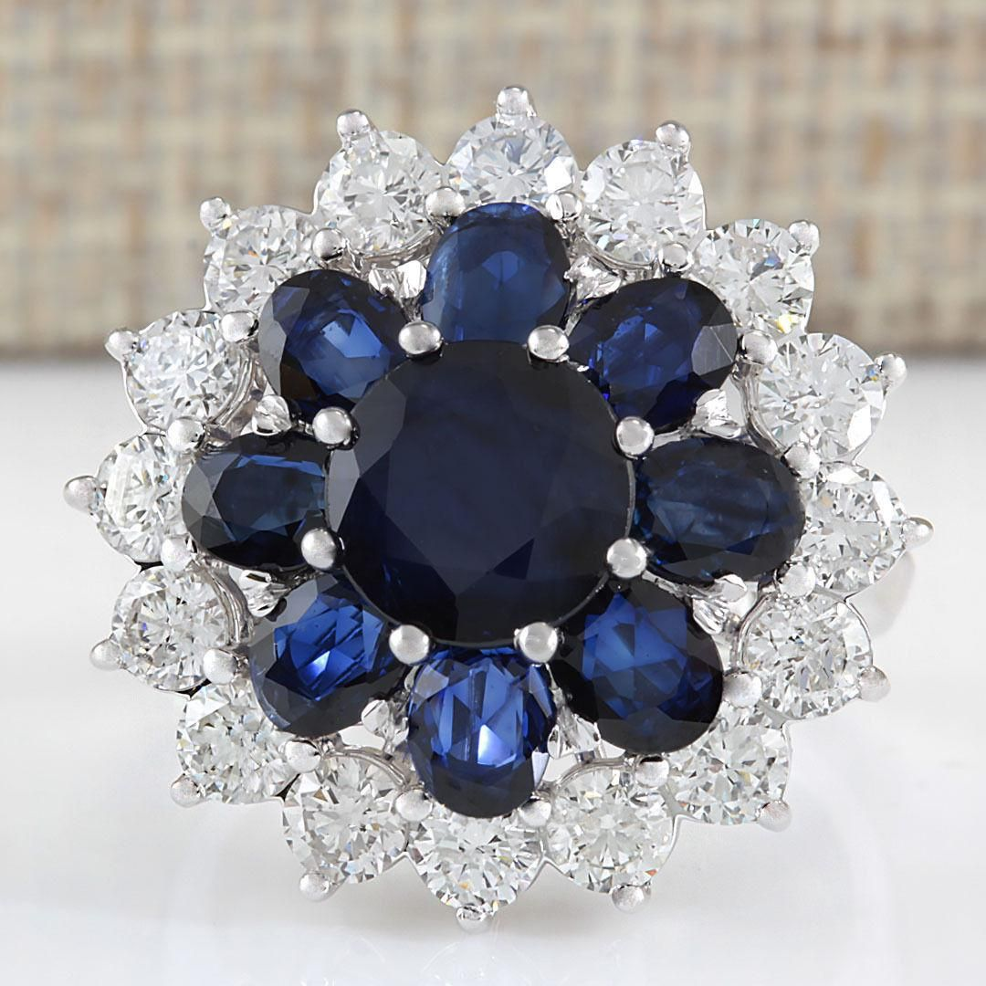 6.37 CTW Natural Sapphire And Diamond Ring In 18K White