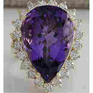 17.67 CTW Natural Amethyst And Diamond Ring In 14K