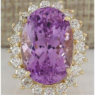 26.27 CTW Natural Kunzite And Diamond Ring In 14K