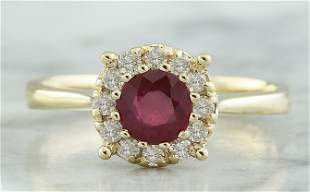 0.72 CTW Ruby 14K Yellow Gold Diamond Ring