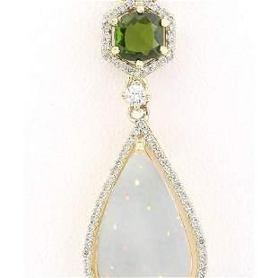 8.39 CTW Natural Opal Tsavorite Diamond Pendant In 14k