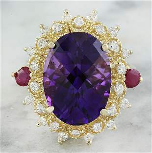 8.60 CTW Amethyst Ruby 14K Yellow Gold Diamond Ring