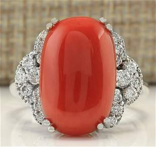 9.25CTW Natural Coral And Diamond Ring In 18K White