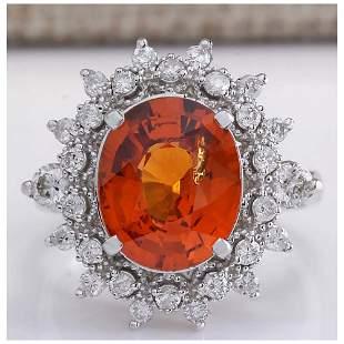 5.90CTW Natural Mandarin Garnet And Diamond Ring In18K