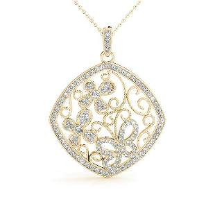 0.75 Carat Diamond Engagement 14K Yellow Gold Pendant