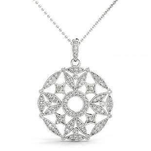 0.52 Carat Diamond Engagement 14K White Gold Pendant