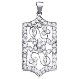 0.94 Carat Diamond Engagement 14K White Gold Pendant