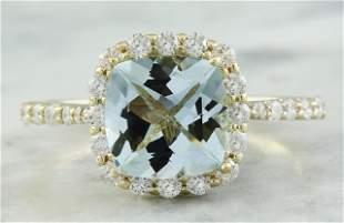 2.50 CTW Aquamarine 18K Yellow Gold Diamond Ring