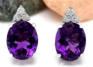 6.02 CTW Natural Amethyst 18K Solid White Gold Diamond