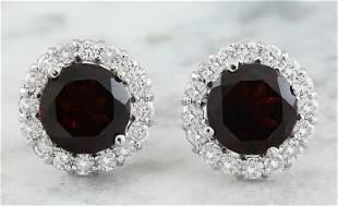 3.65 CTW Garnet 14K White Gold Diamond Earrings