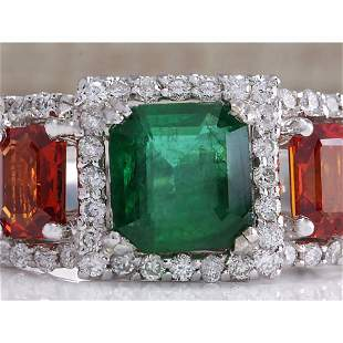 3.63 CTW Natural Emerald Ad Sapphire Diamond Ring 18K