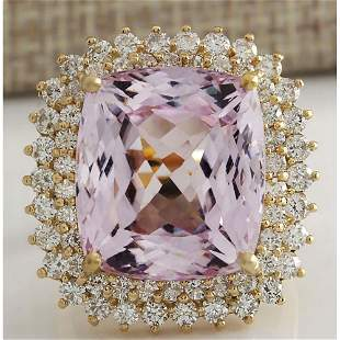 21.94 CTW Natural Kunzite And Diamond Ring 14K Solid