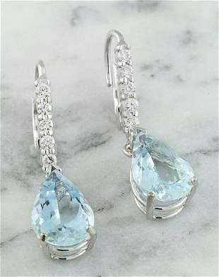 6.45 CTW Aquamarine 18K White Gold Diamond Earrings