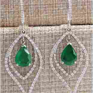 6.98 CTW Natural Emerald And Diamond Earrings 18K Solid
