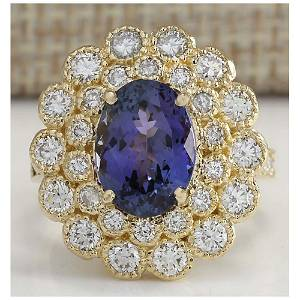 5.32 CTW Natural Blue Tanzanite And Diamond Ring In 14K