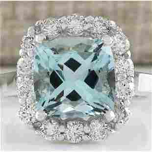 4.17 CTW Natural Blue Aquamarine And Diamond Ring 14K
