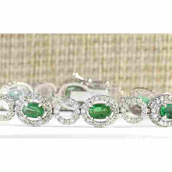 6.98 CTW Natural Emerald And Diamond Bracelet In 14K